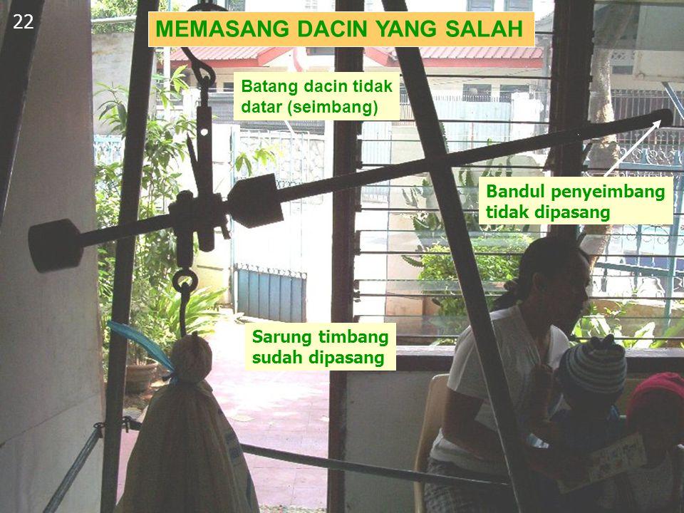 MEMASANG DACIN YANG SALAH 22 Bandul penyeimbang tidak dipasang Sarung timbang sudah dipasang Batang dacin tidak datar (seimbang)