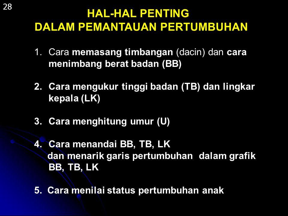 HAL-HAL PENTING DALAM PEMANTAUAN PERTUMBUHAN 1.Cara memasang timbangan (dacin) dan cara menimbang berat badan (BB) 2.Cara mengukur tinggi badan (TB) d
