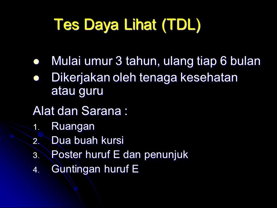 Tes Daya Lihat (TDL) Mulai umur 3 tahun, ulang tiap 6 bulan Mulai umur 3 tahun, ulang tiap 6 bulan Dikerjakan oleh tenaga kesehatan atau guru Dikerjak
