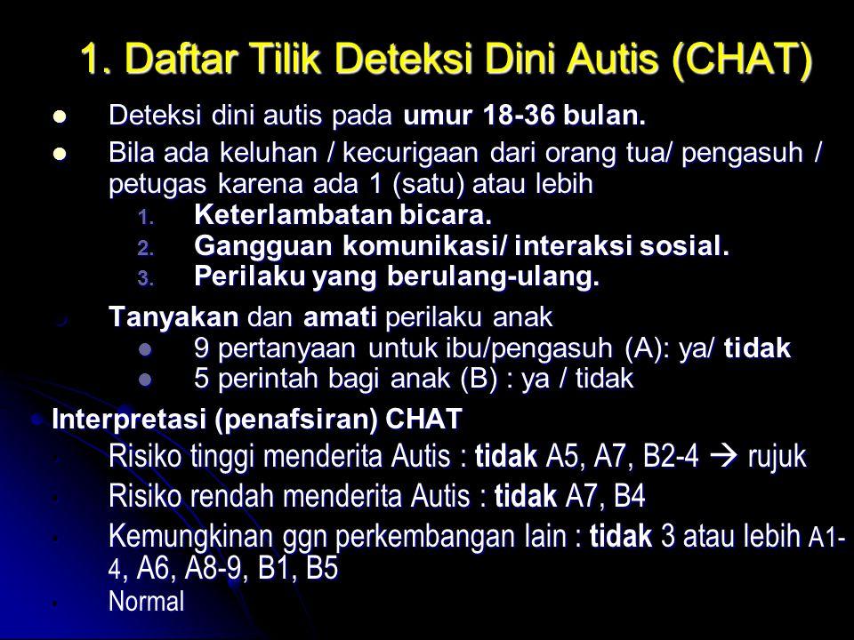1. Daftar Tilik Deteksi Dini Autis (CHAT) Deteksi dini autis pada umur 18-36 bulan. Deteksi dini autis pada umur 18-36 bulan. Bila ada keluhan / kecur