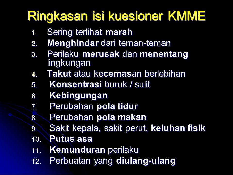 Ringkasan isi kuesioner KMME 1. Sering terlihat marah 2. Menghindar dari teman-teman 3. Perilaku merusak dan menentang lingkungan 4. Takut atau kecema