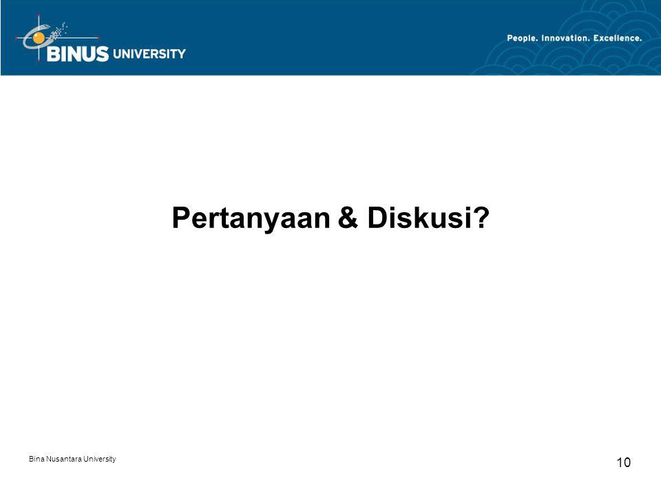 Bina Nusantara University 10 Pertanyaan & Diskusi?