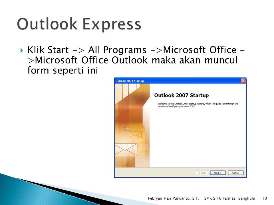  Klik Start -> All Programs ->Microsoft Office - >Microsoft Office Outlook maka akan muncul form seperti ini SMK S 16 Farmasi Bengkulu Febryan Hari Purwanto, S.T.13