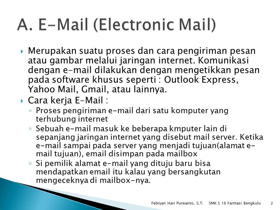  Merupakan suatu proses dan cara pengiriman pesan atau gambar melalui jaringan internet. Komunikasi dengan e-mail dilakukan dengan mengetikkan pesan