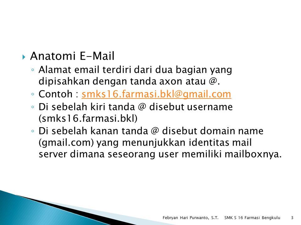  Anatomi E-Mail ◦ Alamat email terdiri dari dua bagian yang dipisahkan dengan tanda axon atau @. ◦ Contoh : smks16.farmasi.bkl@gmail.comsmks16.farmas