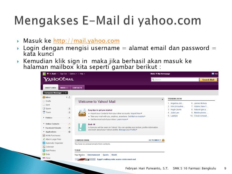  Inbox = kotak masuk pesan yang diterima  Contact = daftar kontak  Sent = email yang terkirim  Spam = email spam  Trash = kotak sampah  Mengirim email baru = Compose Message -> isi To = email tujuan, Subject = Judul Email, Attachment = menyisipkan file, isi email -> Send  Membaca email = klik email yang ada di inbox -> email akan terbuka, Klik pada attachment untuk mendownload jika ada lampiran file  Membalas email = setelah email terbuka balas email dengan cara klik link reply di bagian atas maka akan muncul form baru ◦ To : alamat penerima ◦ Subject = judul email ◦ Attachment = untuk menyisipkan file ◦ Tulis isi email Balas email dengan klik tombol Send di bagian atas  Hapus email dengan cara : ◦ Masuk ke inbox ◦ Beri tanda centang pada email yang akan di hapus ◦ Klik tombol delete SMK S 16 Farmasi Bengkulu Febryan Hari Purwanto, S.T.10