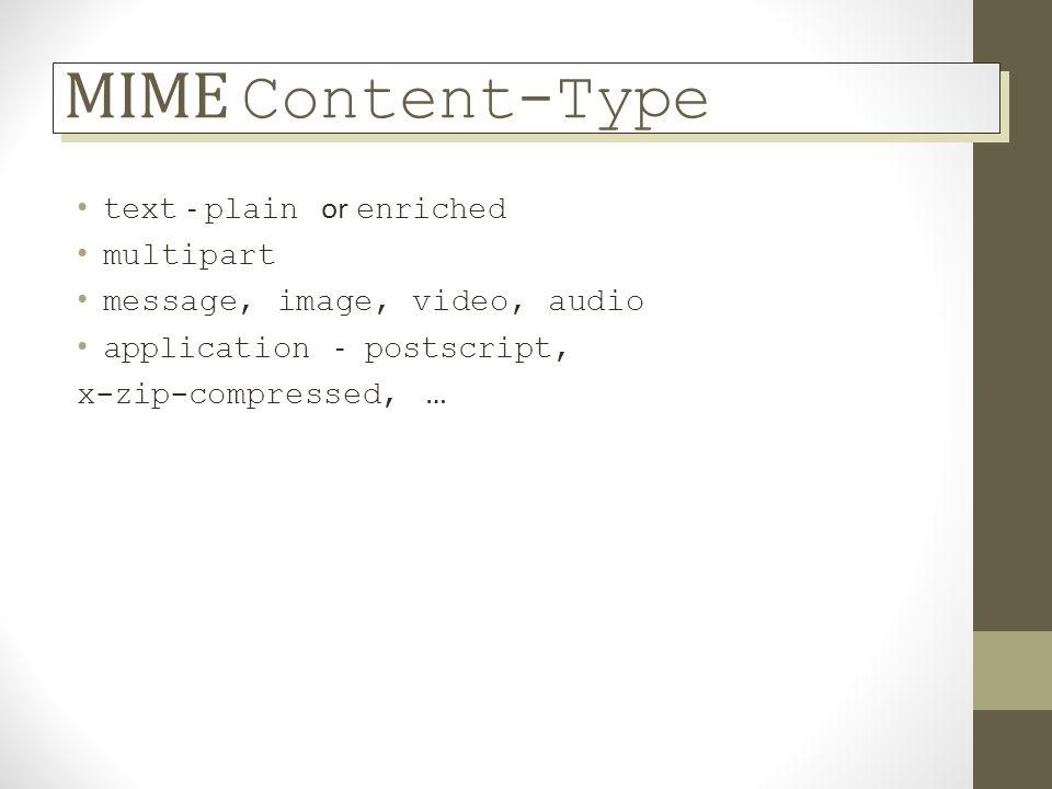 MIME Content-Type text - plain or enriched multipart message, image, video, audio application - postscript, x-zip-compressed, …