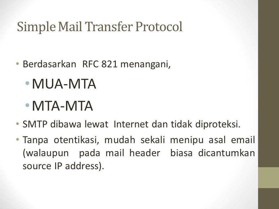 Simple Mail Transfer Protocol Berdasarkan RFC 821 menangani, MUA-MTA MTA-MTA SMTP dibawa lewat Internet dan tidak diproteksi. Tanpa otentikasi, mudah