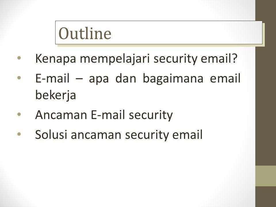 Outline Kenapa mempelajari security email? E-mail – apa dan bagaimana email bekerja Ancaman E-mail security Solusi ancaman security email