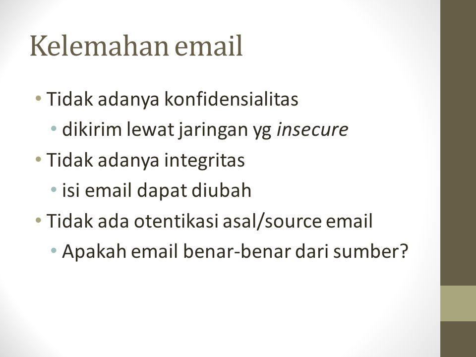 Kelemahan email Tidak adanya konfidensialitas dikirim lewat jaringan yg insecure Tidak adanya integritas isi email dapat diubah Tidak ada otentikasi a