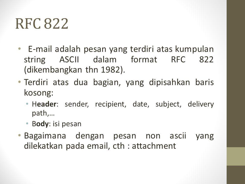 RFC 822 E-mail adalah pesan yang terdiri atas kumpulan string ASCII dalam format RFC 822 (dikembangkan thn 1982). Terdiri atas dua bagian, yang dipisa