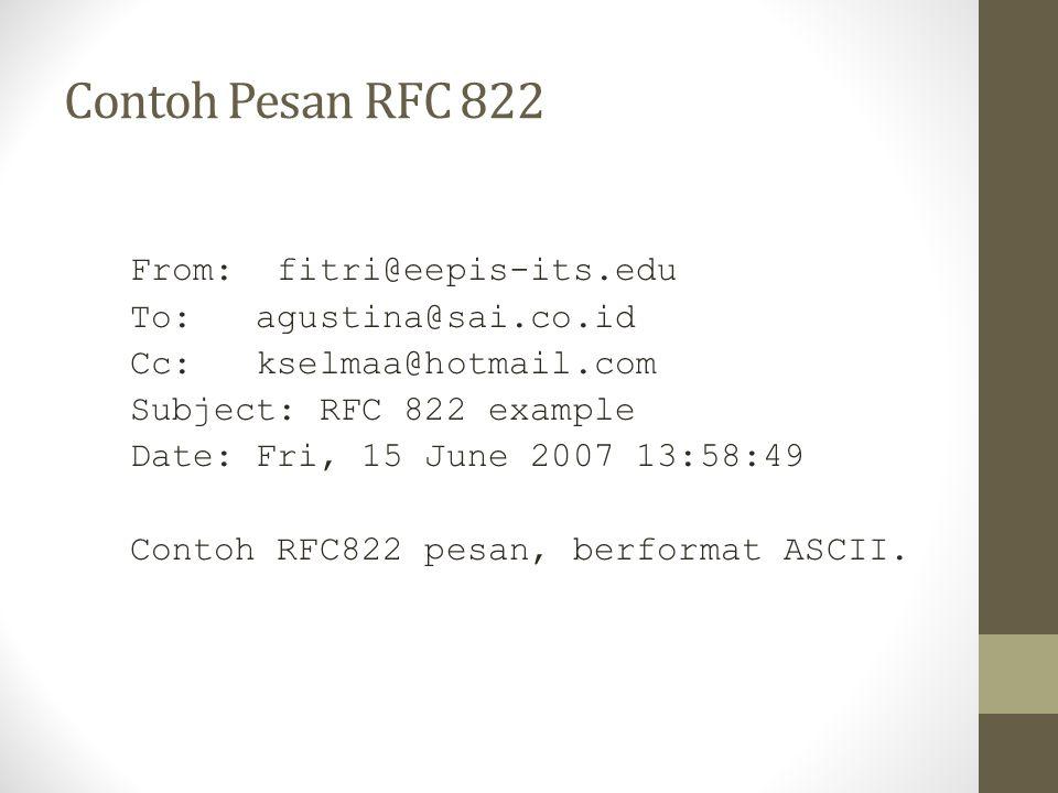 Contoh Pesan RFC 822 From: fitri@eepis-its.edu To: agustina@sai.co.id Cc: kselmaa@hotmail.com Subject: RFC 822 example Date: Fri, 15 June 2007 13:58:4