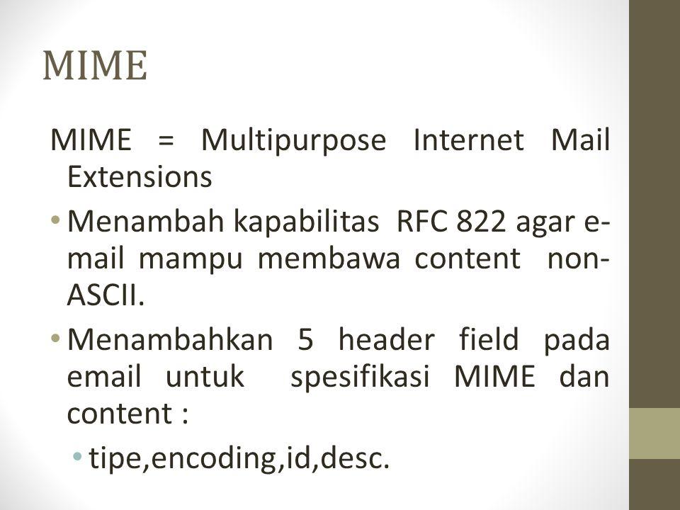 MIME MIME = Multipurpose Internet Mail Extensions Menambah kapabilitas RFC 822 agar e- mail mampu membawa content non- ASCII. Menambahkan 5 header fie