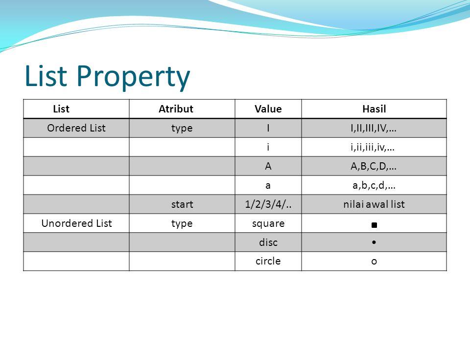 List Property ListAtributValueHasil Ordered ListtypeII,II,III,IV,… ii,ii,iii,iv,… AA,B,C,D,… aa,b,c,d,… start1/2/3/4/..nilai awal list Unordered Listt