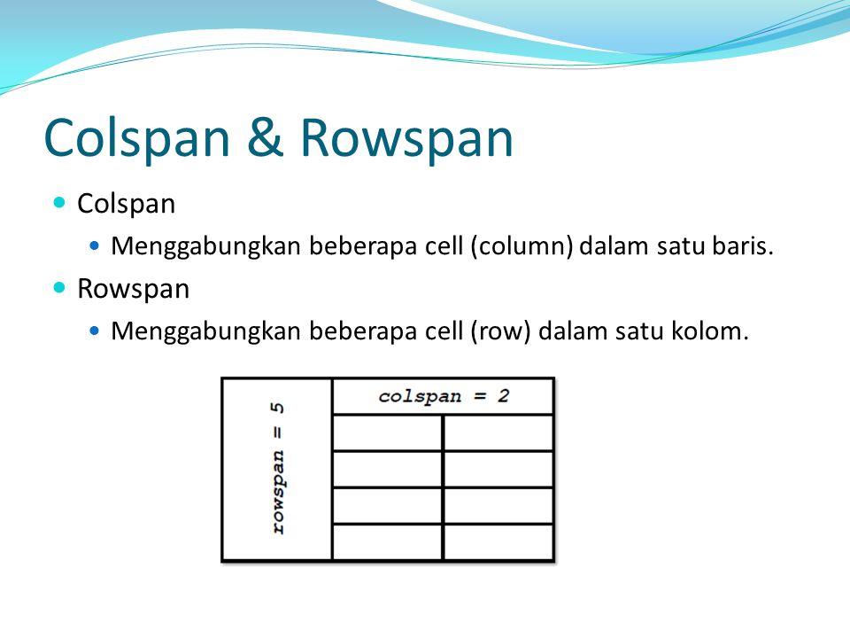 Colspan & Rowspan Colspan Menggabungkan beberapa cell (column) dalam satu baris. Rowspan Menggabungkan beberapa cell (row) dalam satu kolom.