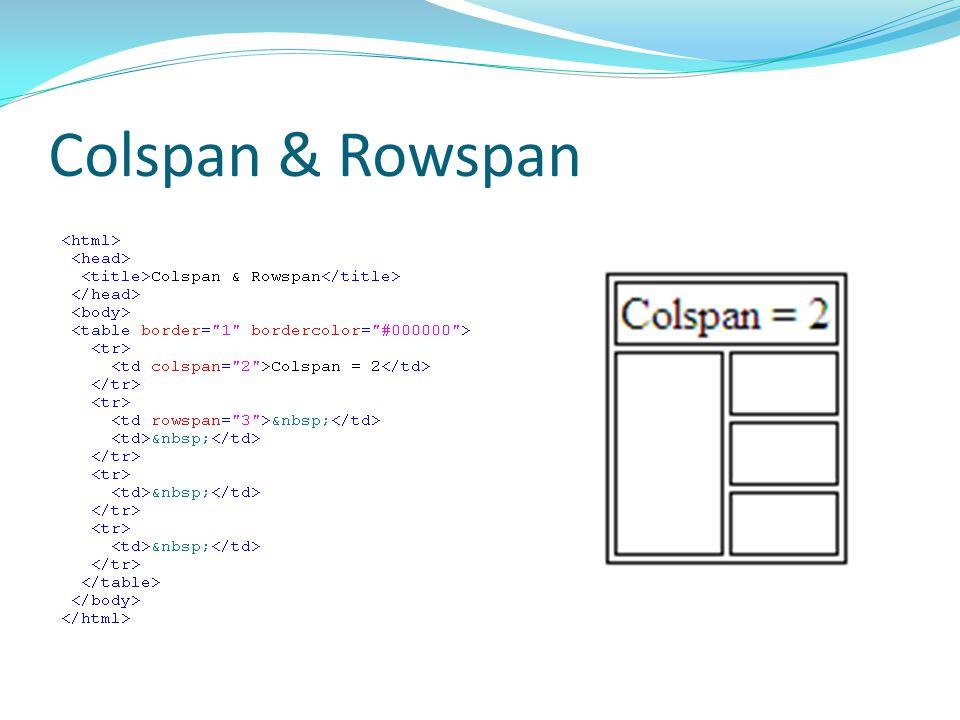 Colspan & Rowspan