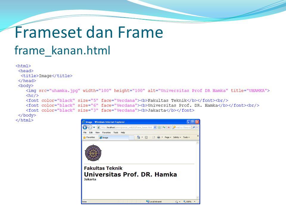 Frameset dan Frame frameset.html