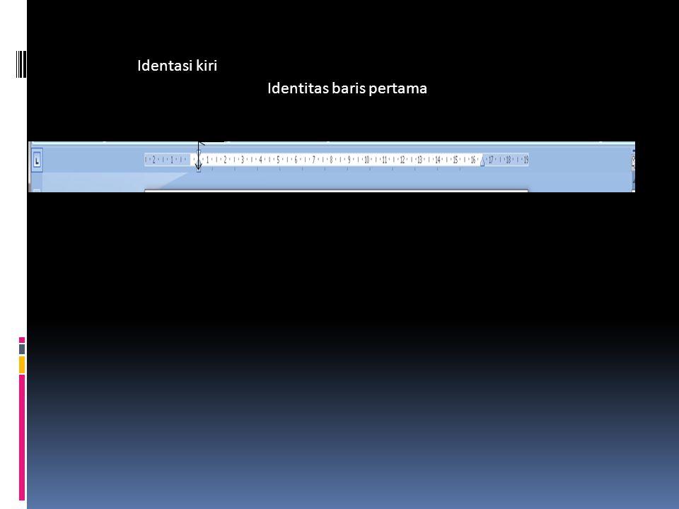Identitas baris pertama Identasi kiri