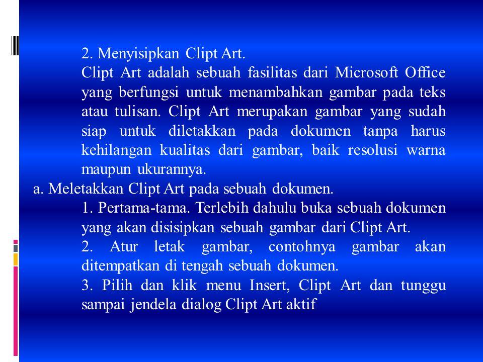 2. Menyisipkan Clipt Art. Clipt Art adalah sebuah fasilitas dari Microsoft Office yang berfungsi untuk menambahkan gambar pada teks atau tulisan. Clip