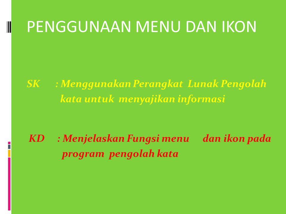 PENGGUNAAN MENU DAN IKON SK: Menggunakan Perangkat Lunak Pengolah kata untuk menyajikan informasi KD: Menjelaskan Fungsi menu dan ikon pada program pe