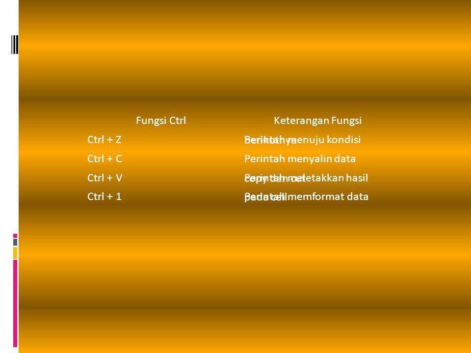 Fungsi CtrlKeterangan Fungsi Ctrl + Z Perintah menuju kondisi berikutnya Ctrl + CPerintah menyalin data Ctrl + V Perintah meletakkan hasil copy dan cu