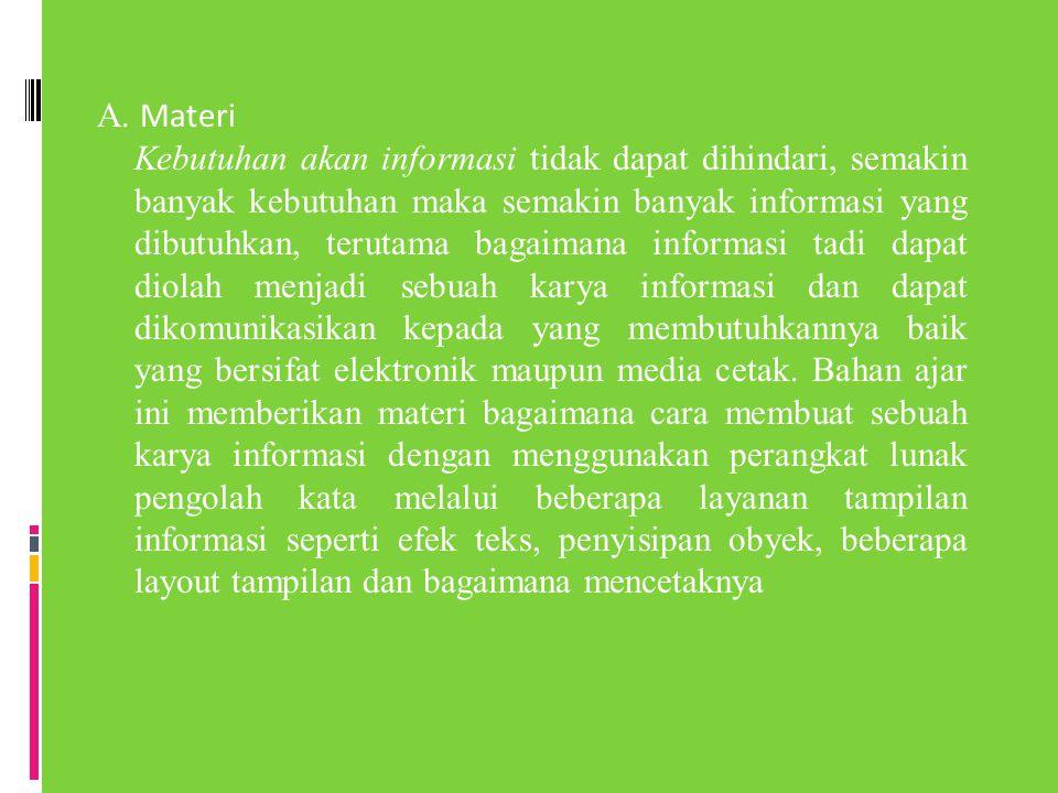 A. Materi Kebutuhan akan informasi tidak dapat dihindari, semakin banyak kebutuhan maka semakin banyak informasi yang dibutuhkan, terutama bagaimana i