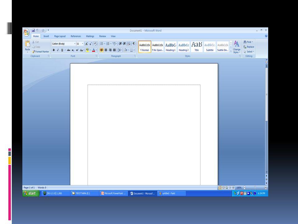 1.Membuat Dokumen Baru Apabila kita memulai mengoperasikan Microsoft Word, maka akan langsung ditampilkan dokumen kosong yang siap untuk dipergunakan seperti pada gambar diatas.