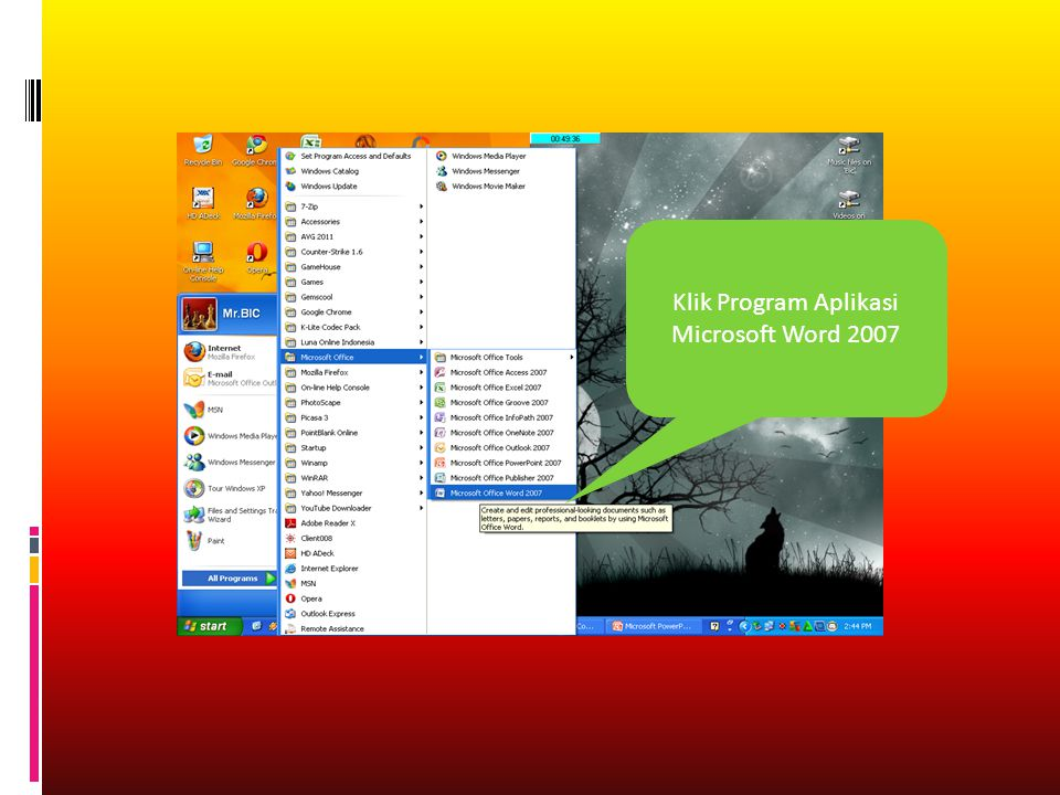Klik Program Aplikasi Microsoft Word 2007