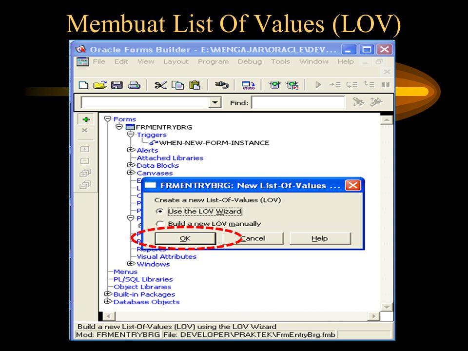 Memilih Data untuk LOV diambil Record Group