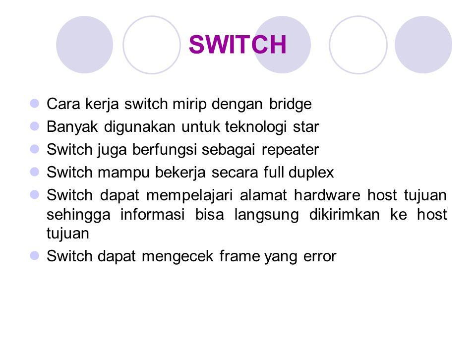 SWITCH Cara kerja switch mirip dengan bridge Banyak digunakan untuk teknologi star Switch juga berfungsi sebagai repeater Switch mampu bekerja secara