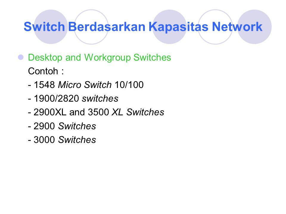 Data Center and Backbone Switches Contoh : - 2900 Switches - ME 3600 X Series - 4000 Switches - 5000 Switches - 6000 Switches - 8500 Switches Kabel Rollover digunakan untuk melakukan koneksi dari komputer ke switch