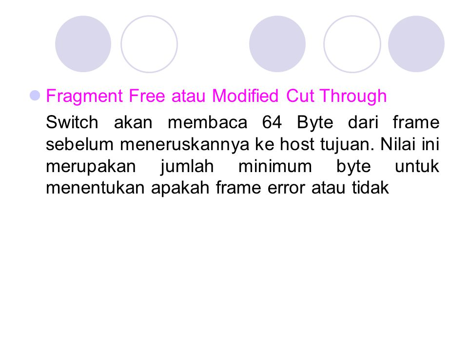 Fragment Free atau Modified Cut Through Switch akan membaca 64 Byte dari frame sebelum meneruskannya ke host tujuan. Nilai ini merupakan jumlah minimu