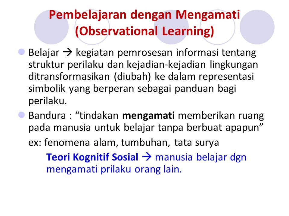 Pembelajaran dengan Mengamati (Observational Learning) Belajar  kegiatan pemrosesan informasi tentang struktur perilaku dan kejadian-kejadian lingkungan ditransformasikan (diubah) ke dalam representasi simbolik yang berperan sebagai panduan bagi perilaku.