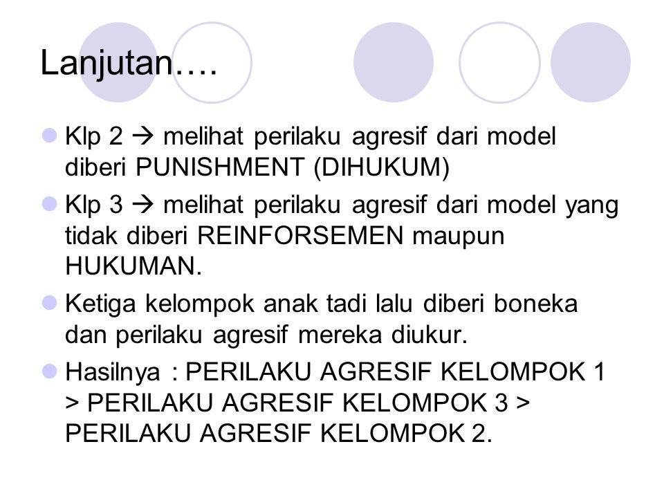 Lanjutan…. Klp 2  melihat perilaku agresif dari model diberi PUNISHMENT (DIHUKUM) Klp 3  melihat perilaku agresif dari model yang tidak diberi REINF
