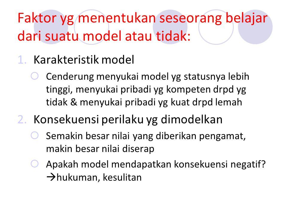 Faktor yg menentukan seseorang belajar dari suatu model atau tidak: 1.Karakteristik model  Cenderung menyukai model yg statusnya lebih tinggi, menyukai pribadi yg kompeten drpd yg tidak & menyukai pribadi yg kuat drpd lemah 2.Konsekuensi perilaku yg dimodelkan  Semakin besar nilai yang diberikan pengamat, makin besar nilai diserap  Apakah model mendapatkan konsekuensi negatif.