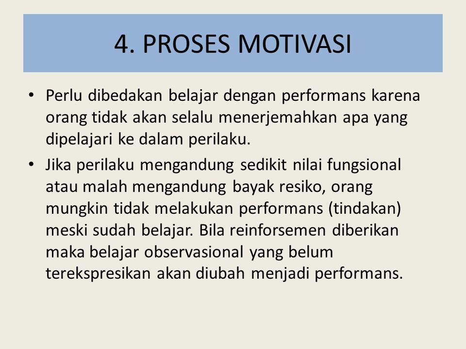 4. PROSES MOTIVASI Perlu dibedakan belajar dengan performans karena orang tidak akan selalu menerjemahkan apa yang dipelajari ke dalam perilaku. Jika