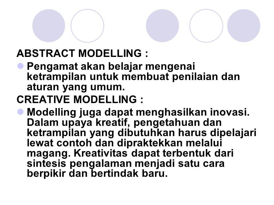 ABSTRACT MODELLING : Pengamat akan belajar mengenai ketrampilan untuk membuat penilaian dan aturan yang umum. CREATIVE MODELLING : Modelling juga dapa
