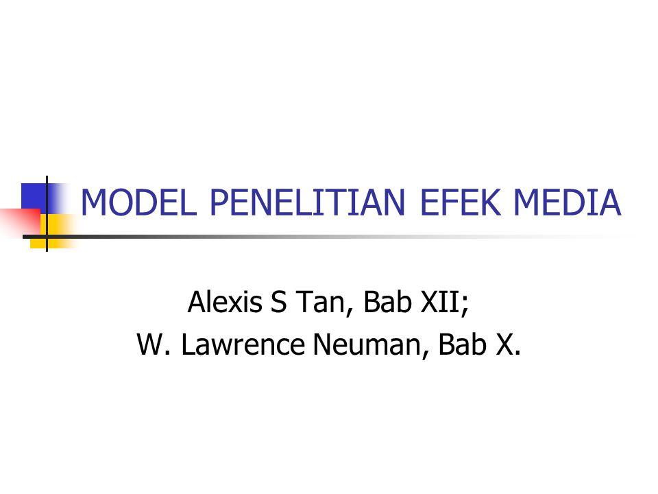 MODEL PENELITIAN EFEK MEDIA Alexis S Tan, Bab XII; W. Lawrence Neuman, Bab X.