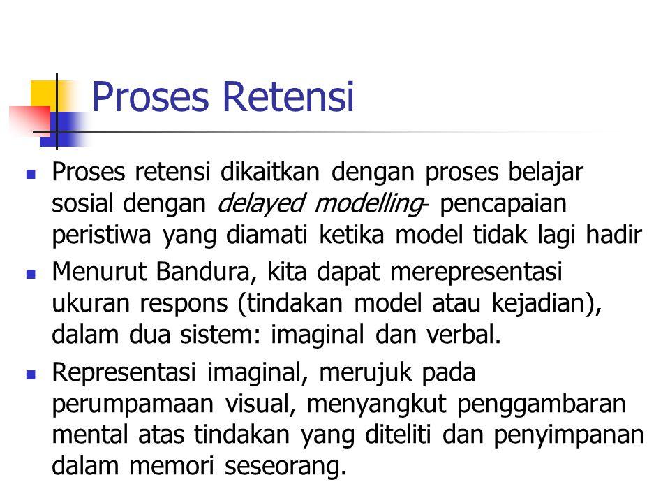 Proses Retensi Proses retensi dikaitkan dengan proses belajar sosial dengan delayed modelling - pencapaian peristiwa yang diamati ketika model tidak lagi hadir Menurut Bandura, kita dapat merepresentasi ukuran respons (tindakan model atau kejadian), dalam dua sistem: imaginal dan verbal.
