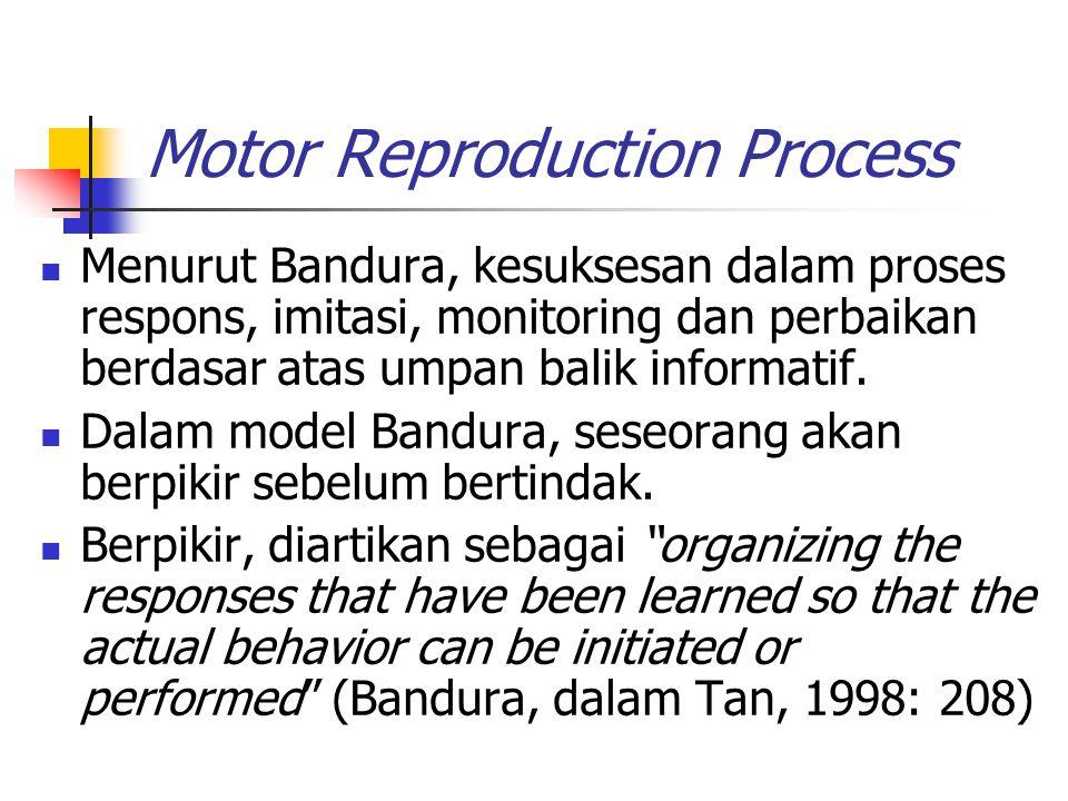 Motor Reproduction Process Menurut Bandura, kesuksesan dalam proses respons, imitasi, monitoring dan perbaikan berdasar atas umpan balik informatif.