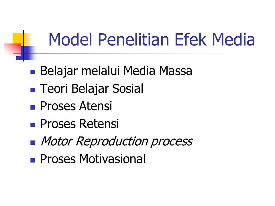 Model Penelitian Efek Media Belajar melalui Media Massa Teori Belajar Sosial Proses Atensi Proses Retensi Motor Reproduction process Proses Motivasional