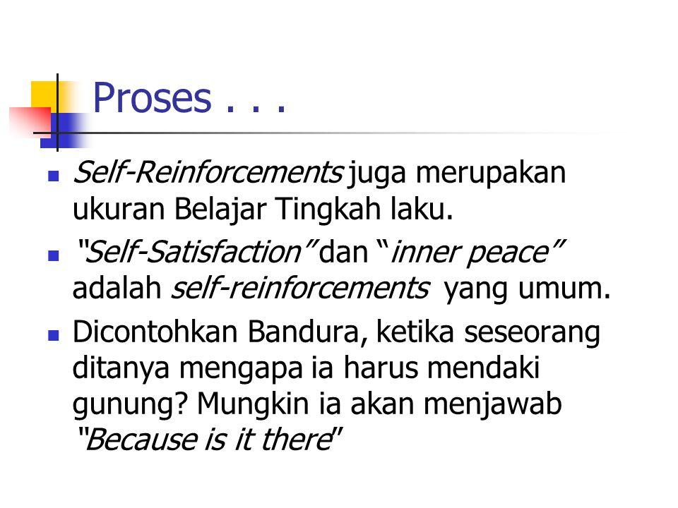 Proses...Self-Reinforcements juga merupakan ukuran Belajar Tingkah laku.