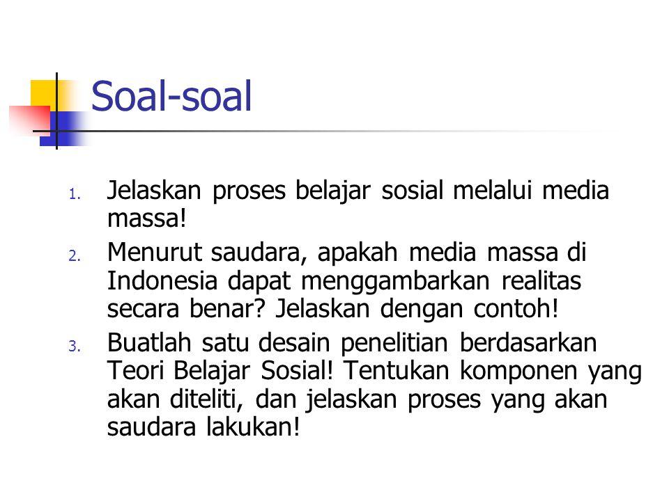 Soal-soal 1.Jelaskan proses belajar sosial melalui media massa.