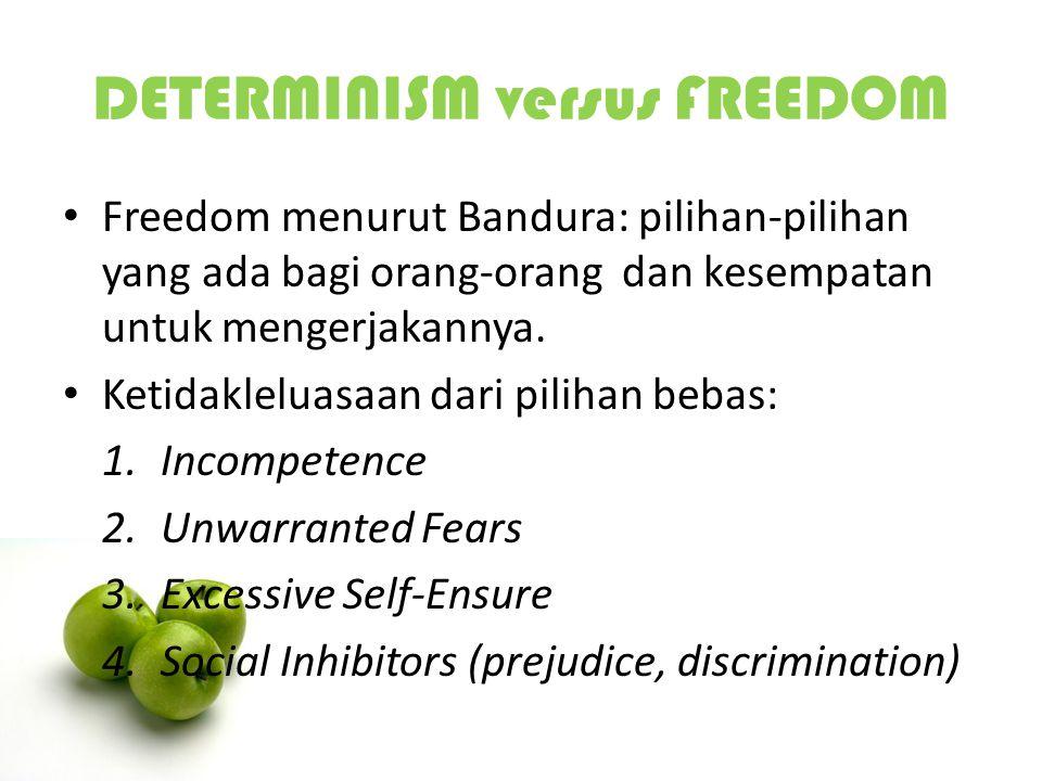 DETERMINISM versus FREEDOM Freedom menurut Bandura: pilihan-pilihan yang ada bagi orang-orang dan kesempatan untuk mengerjakannya. Ketidakleluasaan da