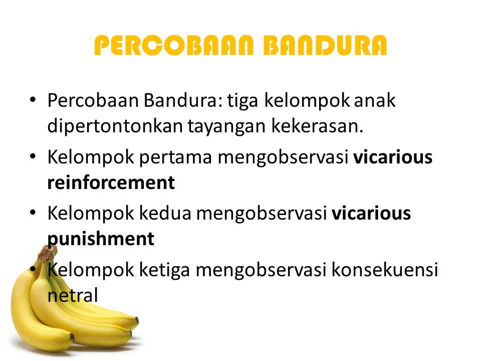 PERCOBAAN BANDURA Percobaan Bandura: tiga kelompok anak dipertontonkan tayangan kekerasan. Kelompok pertama mengobservasi vicarious reinforcement Kelo