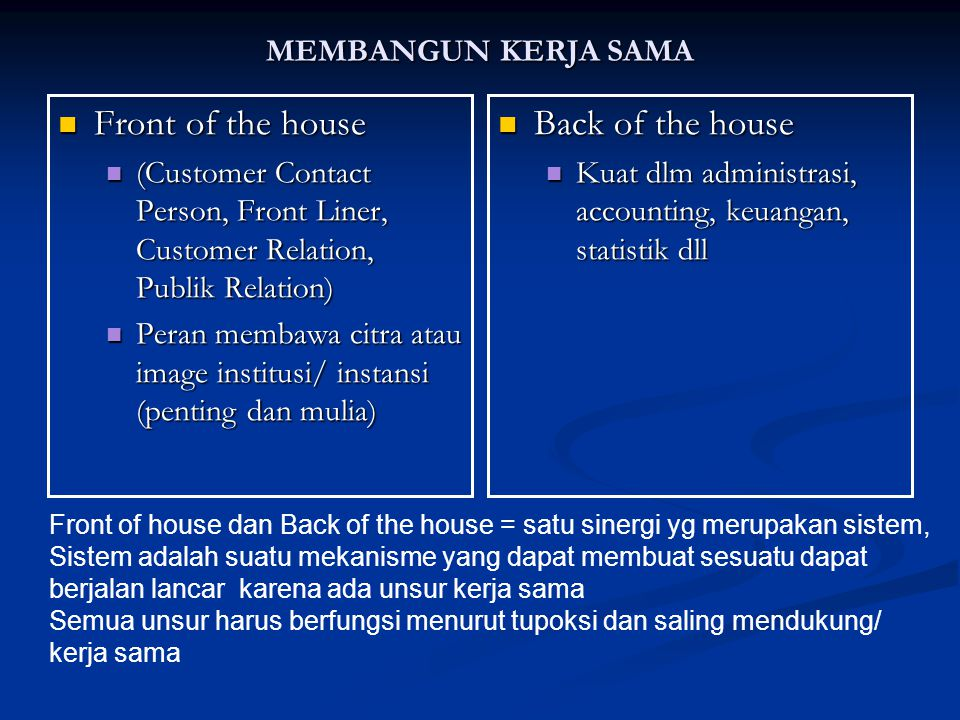 MEMBANGUN KERJA SAMA Front of the house Front of the house (Customer Contact Person, Front Liner, Customer Relation, Publik Relation) (Customer Contac