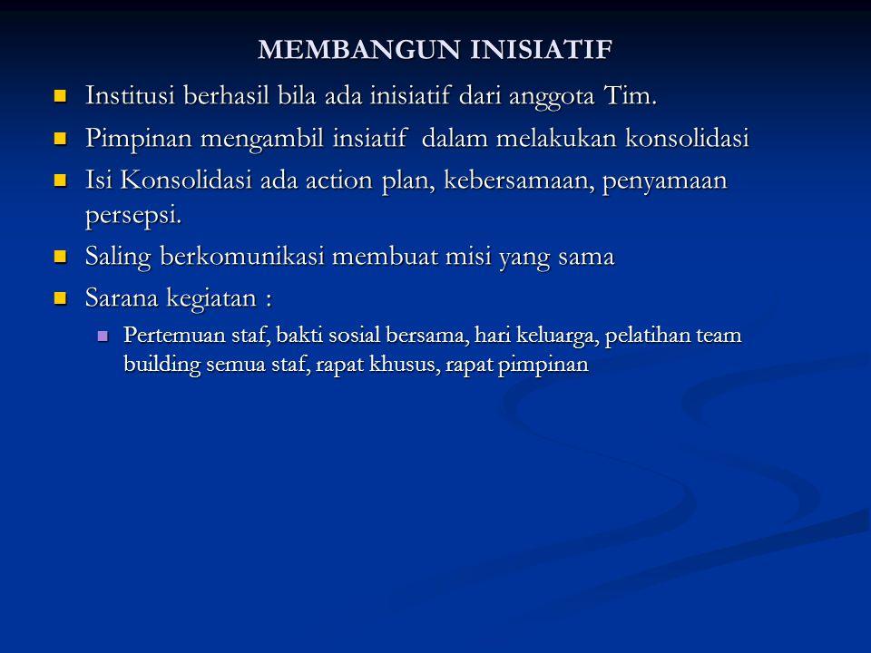 MEMBANGUN INISIATIF Institusi berhasil bila ada inisiatif dari anggota Tim. Institusi berhasil bila ada inisiatif dari anggota Tim. Pimpinan mengambil