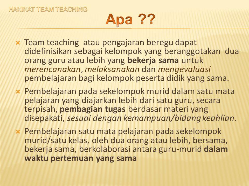  Team teaching atau pengajaran beregu dapat didefinisikan sebagai kelompok yang beranggotakan dua orang guru atau lebih yang bekerja sama untuk merencanakan, melaksanakan dan mengevaluasi pembelajaran bagi kelompok peserta didik yang sama.