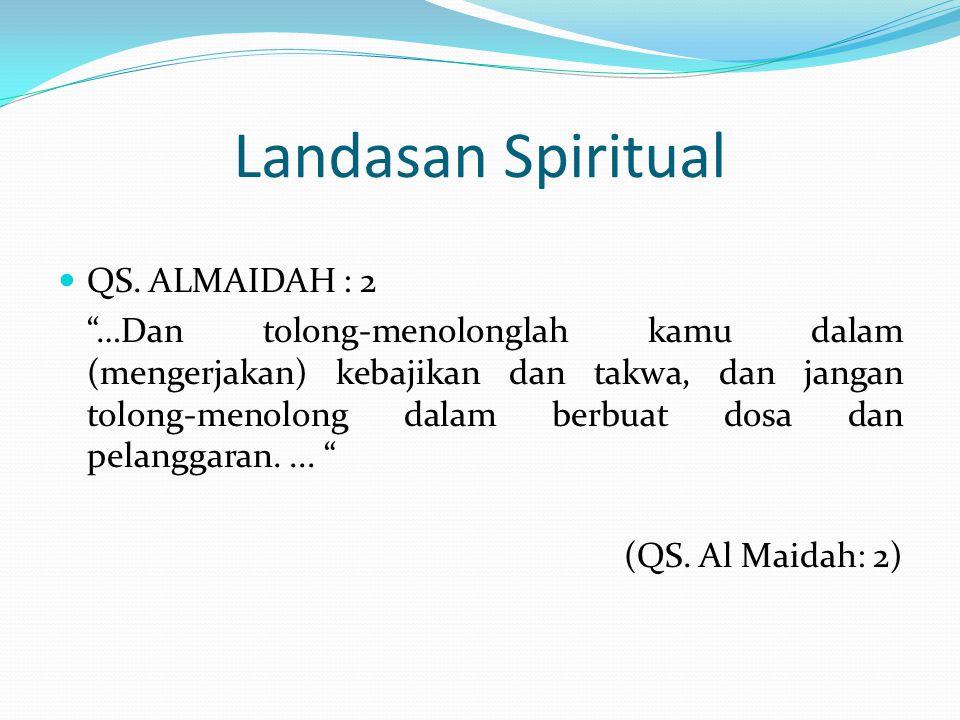 """Landasan Spiritual QS. ALMAIDAH : 2 """"…Dan tolong-menolonglah kamu dalam (mengerjakan) kebajikan dan takwa, dan jangan tolong-menolong dalam berbuat do"""
