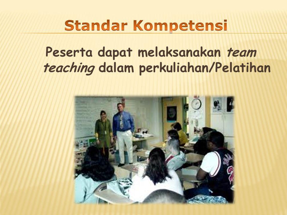 Peserta dapat melaksanakan team teaching dalam perkuliahan/Pelatihan
